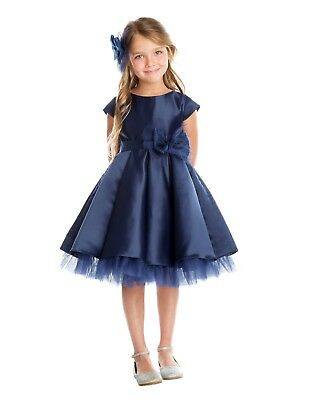 New Baby Flower Girls Navy Blue Satin Dress Party Wedding Easter Christmas 711