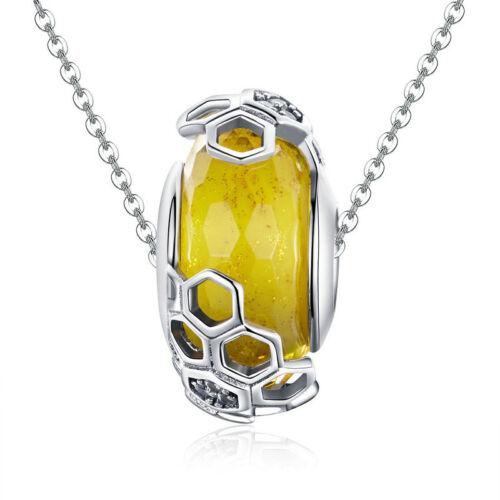 Authentique Argent Sterling 925 nid d/'abeille Bead Charm Fit 925 Bracelet Chaîne Nouveau