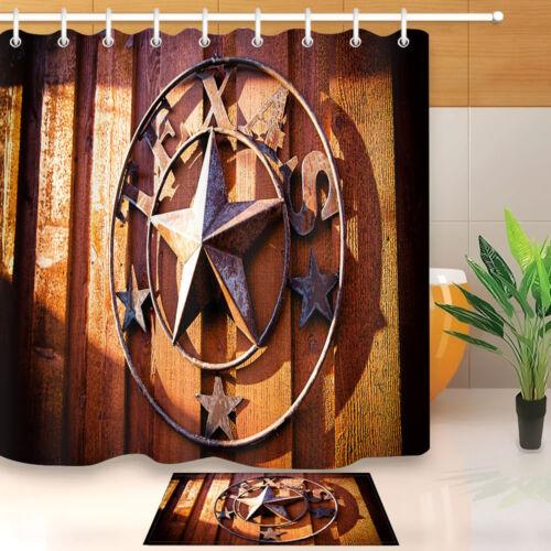 """Vintage Western Texas Star Waterproof Fabric Bathroom Shower Curtain Hook 60//72/"""""""