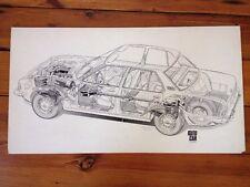 Original Cutaway Drawing Opel Rekord Autocar Magazine Illustration Jan 1972