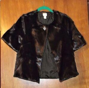 Chico-039-s-Short-Sleeve-Faux-Fur-Jacket-Mahogany-Brown-16-18-Quilted-Back-NWT-149