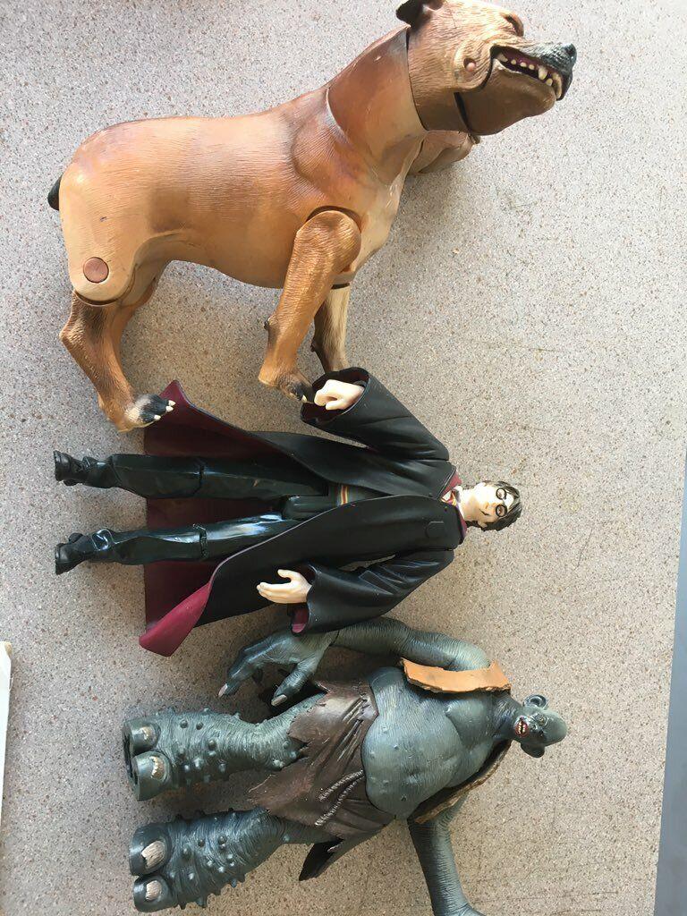 Harry Potter figure Lot Harry Mountain Troll and 3 headed Dog