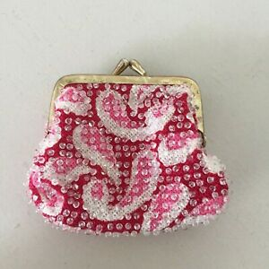 Vintage-Beaded-Pink-Paisley-Coin-Purse-Kisslock-Clasp-Change-Pouch