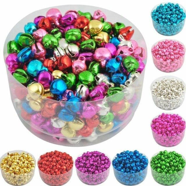 500/1000pcs  Jingle Bells Charms Pendants Jewellery Making Mixed Colour 8x 6mm