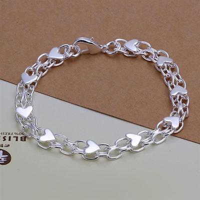 Asamo Damen Armband Mit Herz Anhänger 925 Sterling Silber Plattiert Herzen A1293 Starke Verpackung