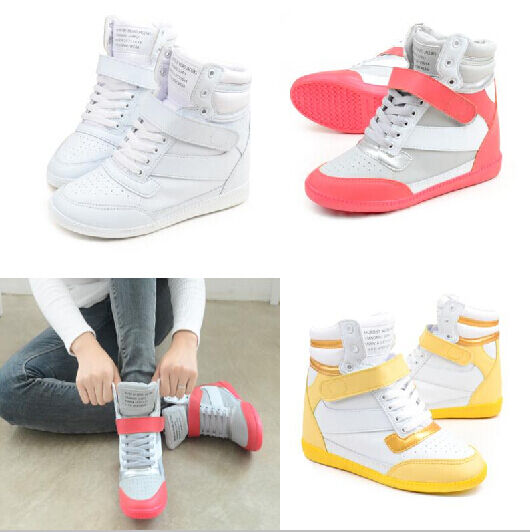 Womens Tranner High Top Hidden Wedge Sneakers Lace Up Sports Fashion shoes Boots