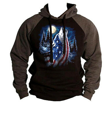 Men/'s American Flag Howling Wolf Moon Charcoal Raglan Hoodie Wildlife Animal USA
