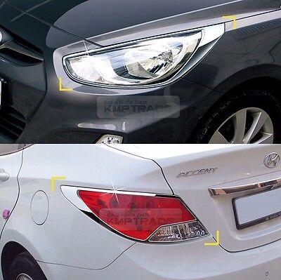 Chrome Rear Tail Light Lamp Garnish Molding For HYUNDAI 2011-2017 Accent Verna