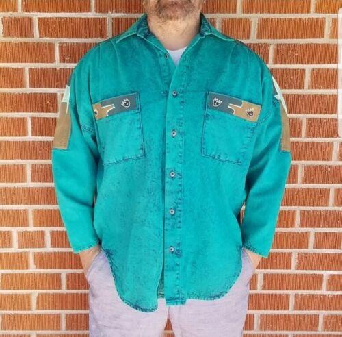Vintage 1990s Teal Denim Painted Western Shirt