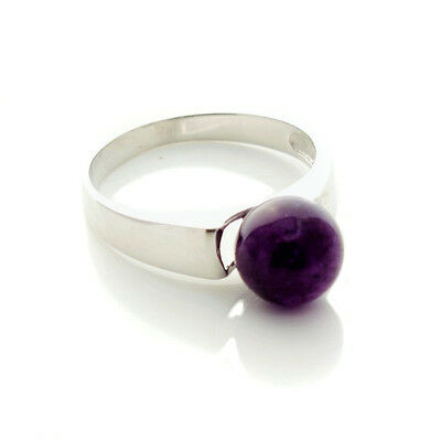 Amethyst Ring Solid Sterling Silver Band Size O