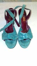 *****RARE***** TURQUOISE SUEDE VINTAGE 1940'S PIN UP GIRL PLATFORM SHOES