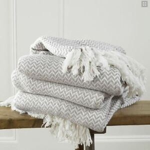 Details About 100 Cotton Cream Woven Herringbone Sofa Chair Bed Throw Fringed Blanket