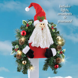 Solar-Lighted-Pinecones-amp-Ornaments-Santa-Claus-Outdoor-Mailbox-Cover-Swag