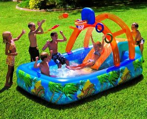 Image Is Loading Inflatable Water Park Slide Pool Backyard Bounce House