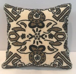 Amazing-Full-Patterned-Beaded-Square-Accent-Pillow-w-Silk-Back-7-034-x-7-034-NOS