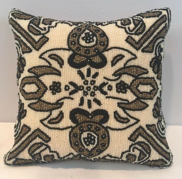 Amazing Full Patterned Beaded Square Accent Pillow w Silk Back 7