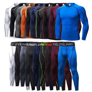 Mens Compression Thermal Armour Base Under Layer Tights Tops Long Pants Sets Tee