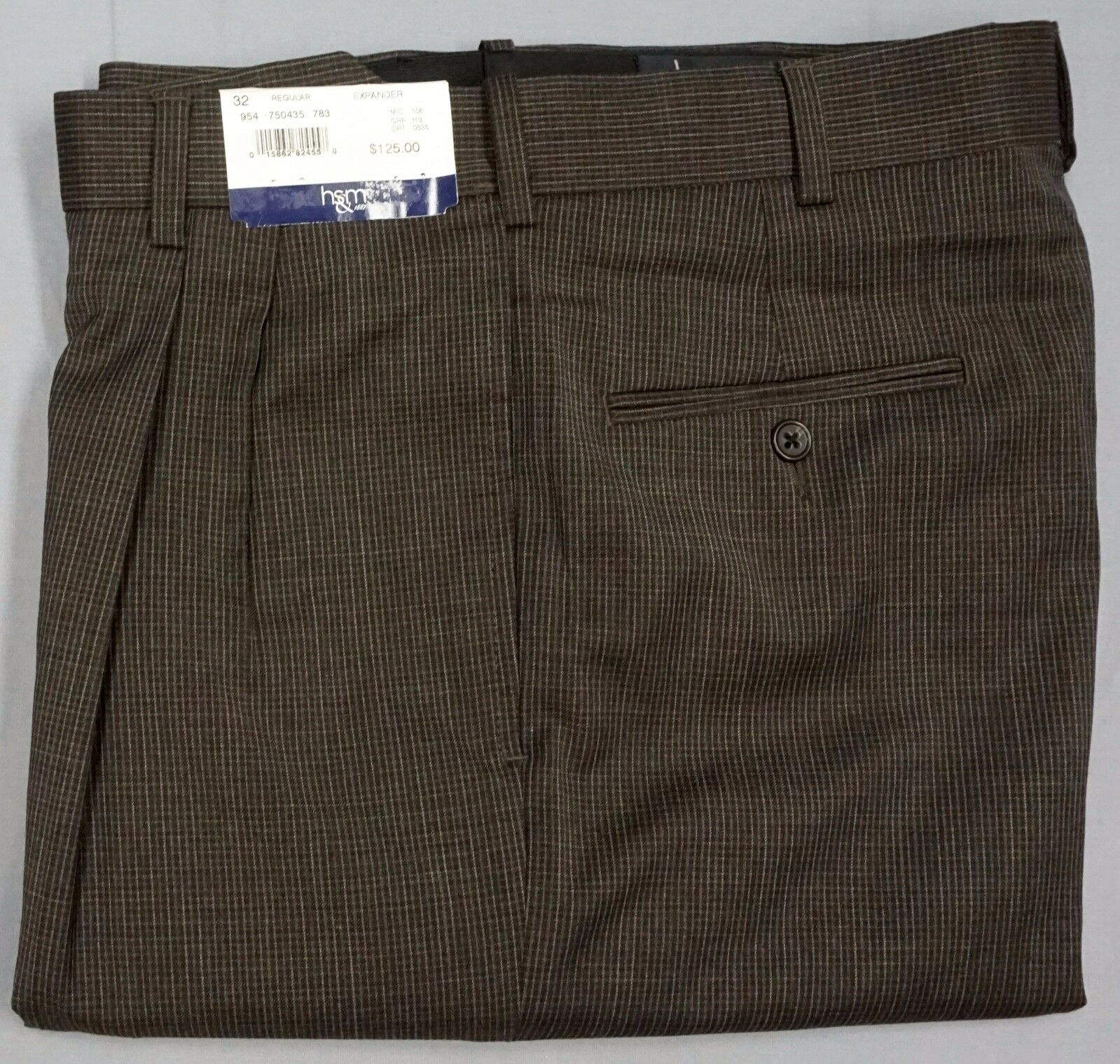 NWT  HART SCHAFFNER MARX EXPANDER PLAID BROWN DRESS PANTS PLEATED MENS 32R