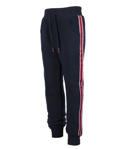 Kids Tracksuit Bottoms Plain Girls Trousers Boys Contrast Stripes Joggers 3-14 Y