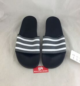66cc67313f2b New Adidas ADILETTE KNIT Slides Sandals Mens White Black Beach Flip ...