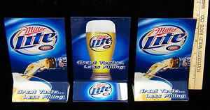 Set 3 Plastic Miller Lite Beer Table Tents Bar Menu Special Holders Great Taste
