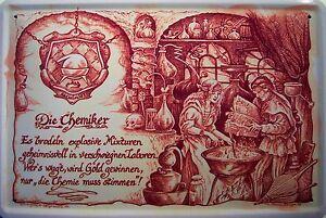 Beruf-Chemiker-Blechschild-Metallschild-Schild-gewoelbt-Metal-Tin-Sign-20-x-30-cm