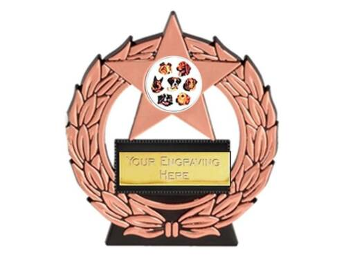 economy PU DOG SHOW mega star trophy free engraving gold silver bronze trophies