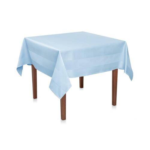 Damast Tischdecke Blau Baumwolle Atlaskante Tischwäsche Tischtuch Tafeldecke