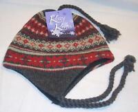Grand Sierra Fleece Lined Womens Ladies Gray & Red Chullo Beanie Hat Cap