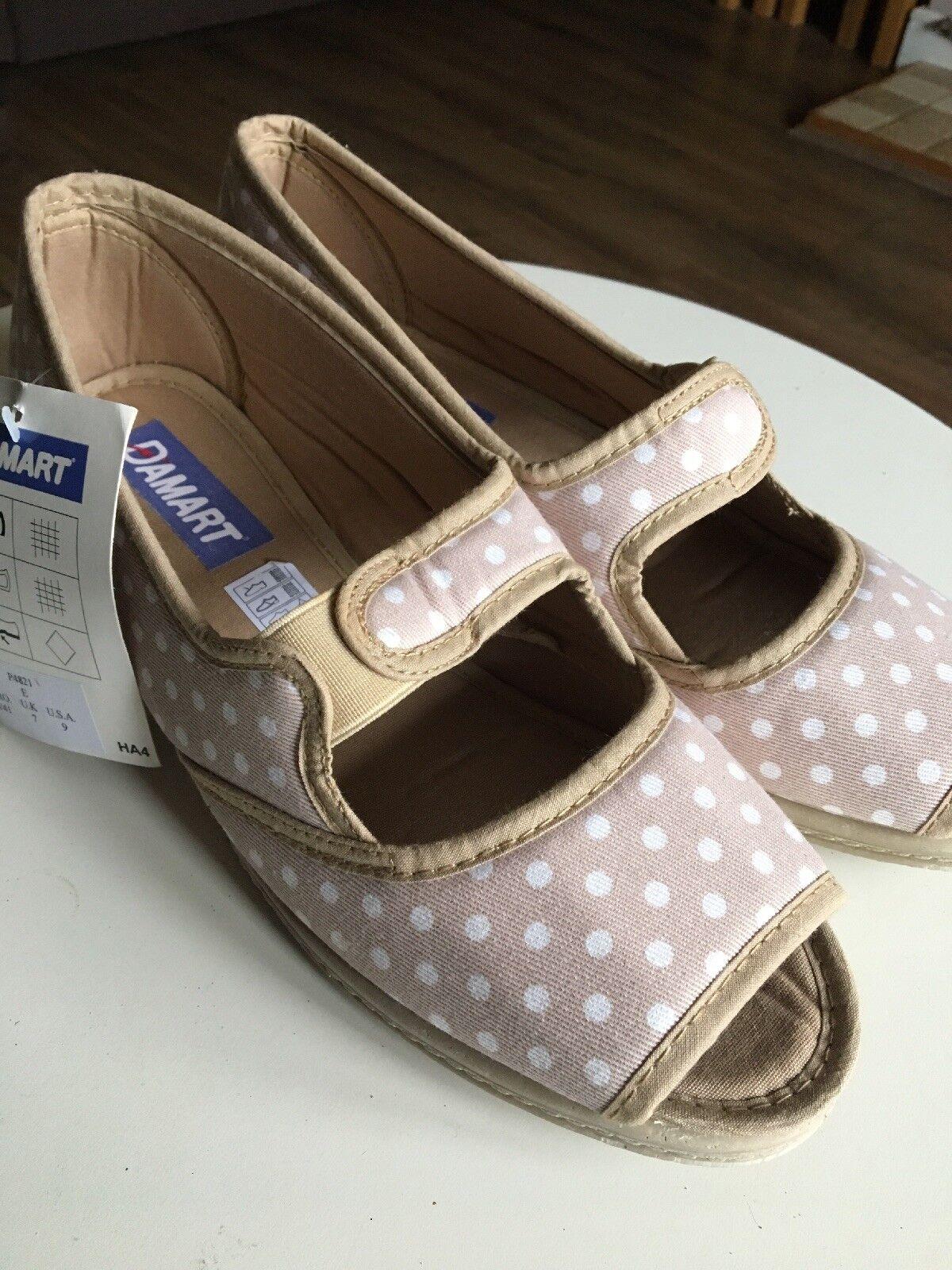 Damart Womens E Wider Fit Beige Spotty Sandals  Open Toe New Sandals Spotty / Slippers f6175e