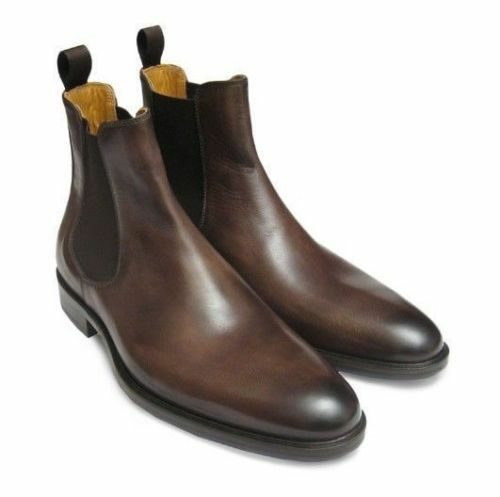 Men Handmade Chelsea Boots Brown Brown Brown Custom Made Pure leather Sole boots for Men 99de53