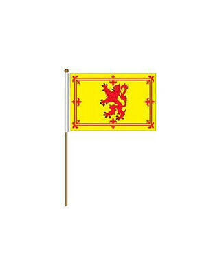 """SCOTLAND LION RAMPANT 12/""""X18/"""" INCH COUNTRY FLAG BANNER ON 2 FOOT WOODEN STICK"""