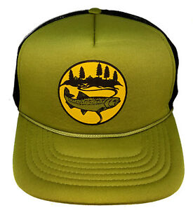 Image is loading Trout-Olive-Army-Green-Mountain-Snapback-Mesh-Trucker- 15621c54d88