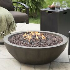 Outdoor Fire Bowl Propane Gas Stone Fireplace 36 in Tank Hideaway Table W Cover