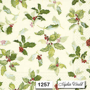 Details about (1257) TWO Individual Paper Luncheon Decoupage Napkins ,  HOLLY LEAVES BERRIES
