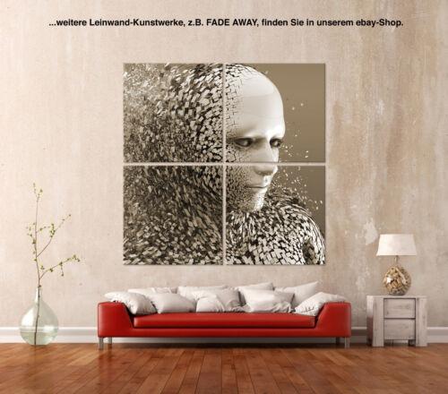BLATTGOLD Abstrakt Leinwand Bild Schwarz Blau Gold Blatt Kunstdruck Wandbild 3D