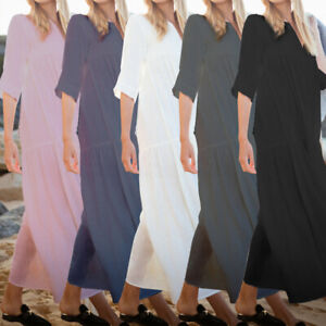 S-5XL-Women-Cotton-Linen-Long-Sleeve-Loose-Casual-Summer-Kaftan-Party-Maxi-Dress