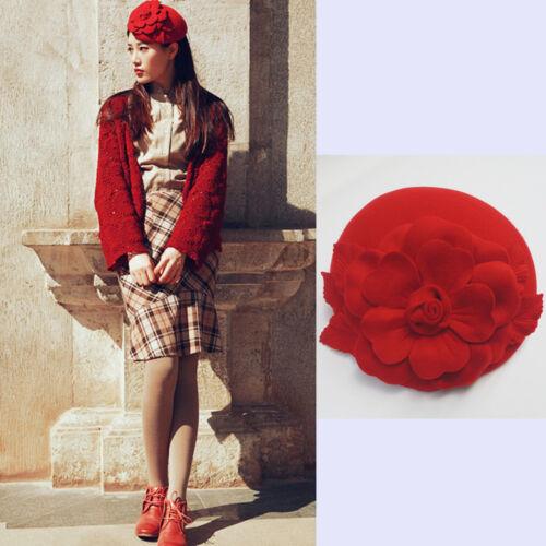 Retro Wool Nylon GATSBY Style Hat Flowers Fascinator Beret Race Wedding Hat A083