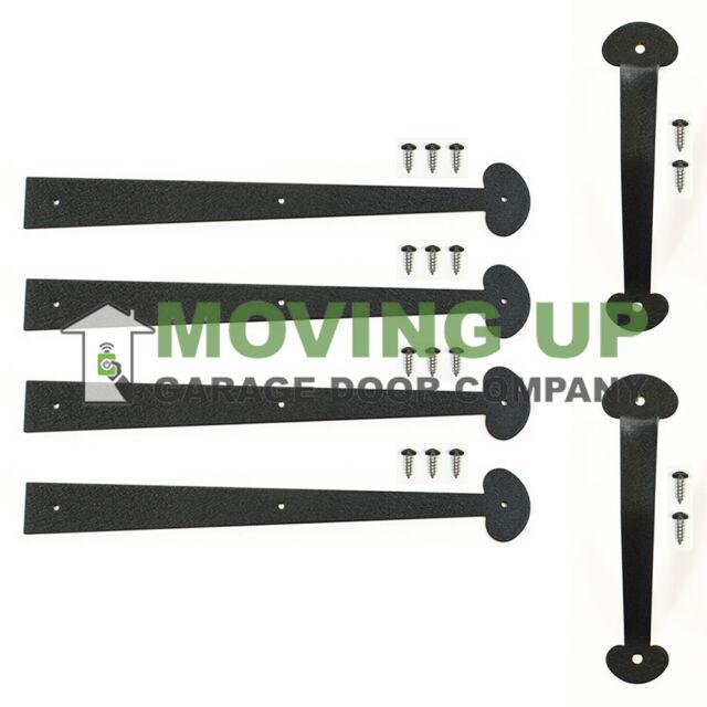 "Garage Door Decorative Kit Black 16/"" Hinges Hardware Pull Handles"