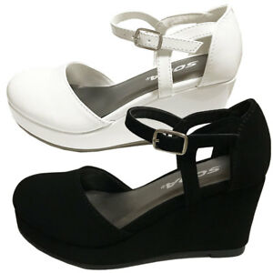 473616d7aeb1 Details about RONNI Girls Kid s Mary Jane Low Platform Wedge Heels Party Wedding  Dress Shoes