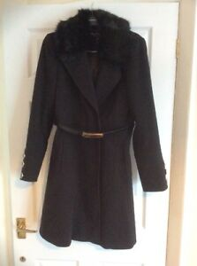 Collar Uk Coat Belted Black Miss Flare amp; 10 Selfridge Fit Fur Bnwot Size z0wfvfq