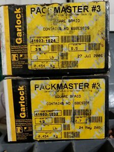 """*new Lot Of 2* Garlock Packmaster #3 Square Braid 3/8"""" And 1/2"""" Glues, Epoxies & Cements"""