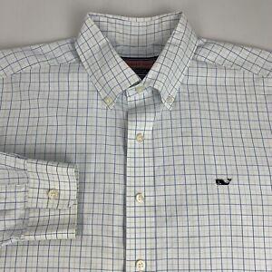 Vineyard-Vines-Button-Down-Whale-Shirt-Men-039-s-Large-Blue-Checks-Long-Sleeve-Logo