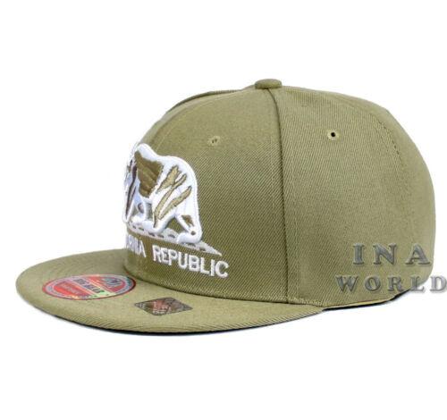 California Republic Hat Bear Snapback Flat Bill Baseball Cap Khaki Beige//White