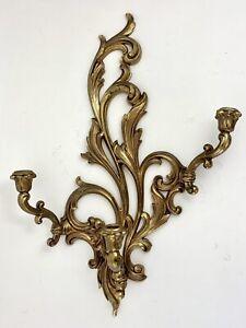 Vtg Hollywood Regency Ornate Gold Wall Sconce 3 Candle Holder Syroco-Homco?