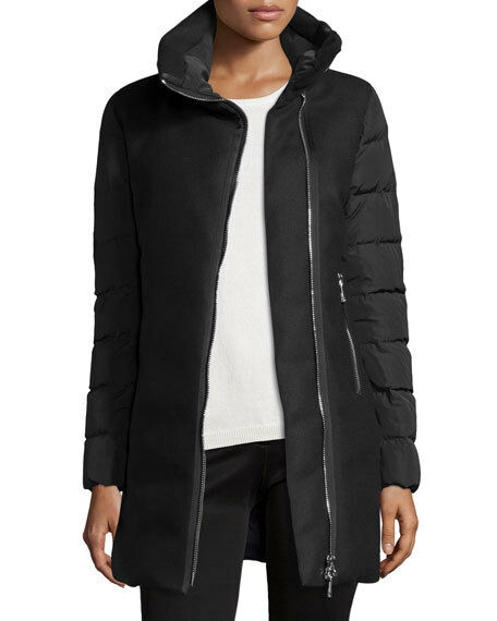 Moncler Womens Aglaia Wool Down Quilted Coat Jacket Size 0 XS Black | eBay