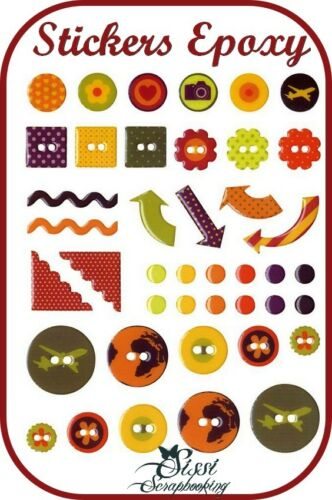 LOT 42 STICKER BOUTON EPOXY VOYAGE PHOTO AVION AVENTURE FLEUR SCRAPBOOKING SCRAP