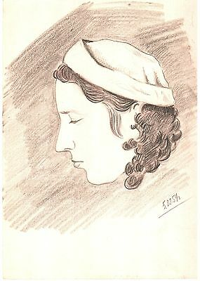 Portrait of the woman 1954 USSR Vintage Graphite pencil Drawing is 59 years old!