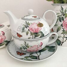 VINTAGE STYLE ANTIQUE ROSE FINE CHINA TEAPOT TEA FOR ONE TEACUP TEASET WEDDING