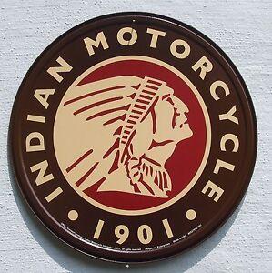 Indian-Motorrad-USA-Haendler-Klassik-Motorcycle-Logo-Metall-Schild
